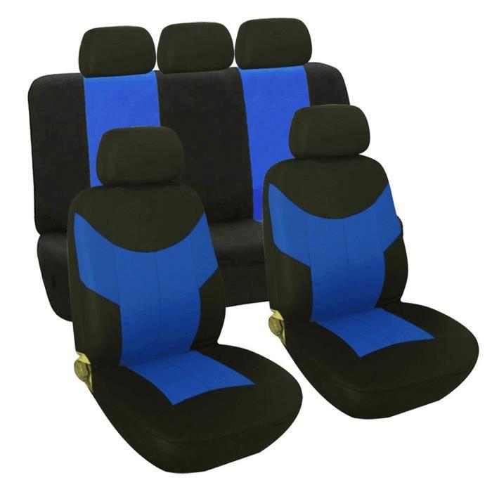 9Pcs Housse de siège auto Voiture Universelle Pour Conducteur et Passager Bleu Noir