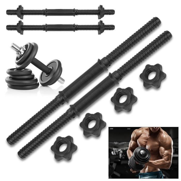 (2 pcs) barres d'haltères d'entraînement à domicile de gymnastique poignées de levage de poids avec 4 collier Spinlock