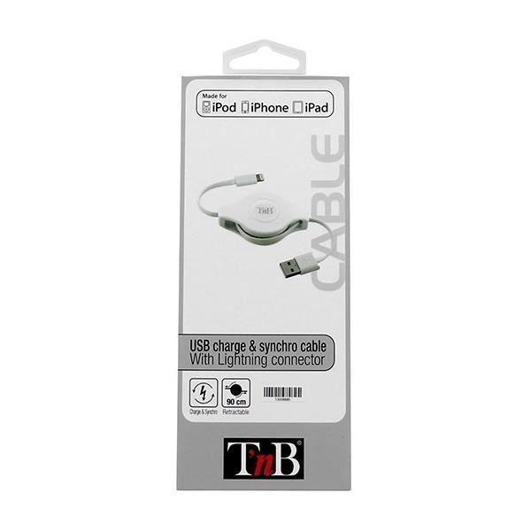 Câble rétractable USB de charge et de synchro pour iPhone 5, iPad 4, iPad mini, iPod touch 5 et iPod nano 7.Le sytème rétractable...
