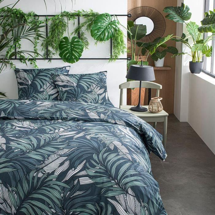 TODAY Parure de lit SUNSHINE 5.52 - 2 personnes - 220 x 240 cm coton - Imprimé Vert Jungle TODAY