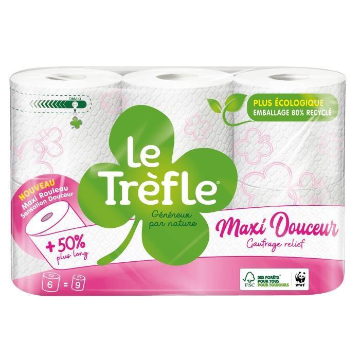 Le Trèfle® Maxi Douceur Blanc x6 maxi rouleaux = 9 rouleaux classiques