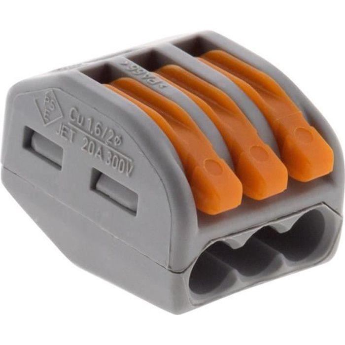 Lot de 50 mini bornes de connexion rapide à levier S222 pour fils rigides et souples - 3 entrées