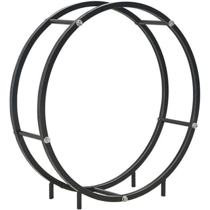 QL23182-Portant de bois de chauffage-Porte-bûche range-bûche Noir 70 x 20 x 70 cm Acier