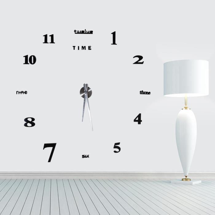 Horloge murale design Salon Chambre Bureau 3D DIY Autocollant Miroir Décoration Moderne
