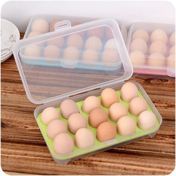 Egg Plateau de rangement pour r/éfrig/érateur oeuf Porte-conteneur Bo/îte 12 trous avec couvercle en plastique transparent Cuisine Fournitures