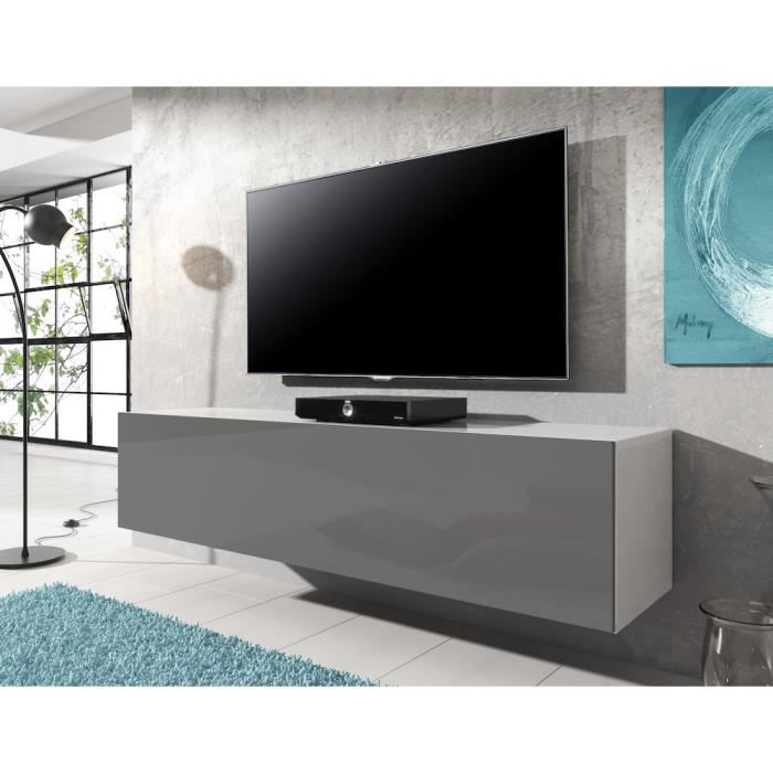 meuble tv flottant rocco 140 cm corps mat blanc portes gris haute brillant achat vente. Black Bedroom Furniture Sets. Home Design Ideas