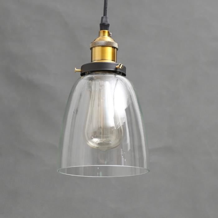 E27 verre industriel vintage suspension luminaire abat for Luminaire suspension industriel