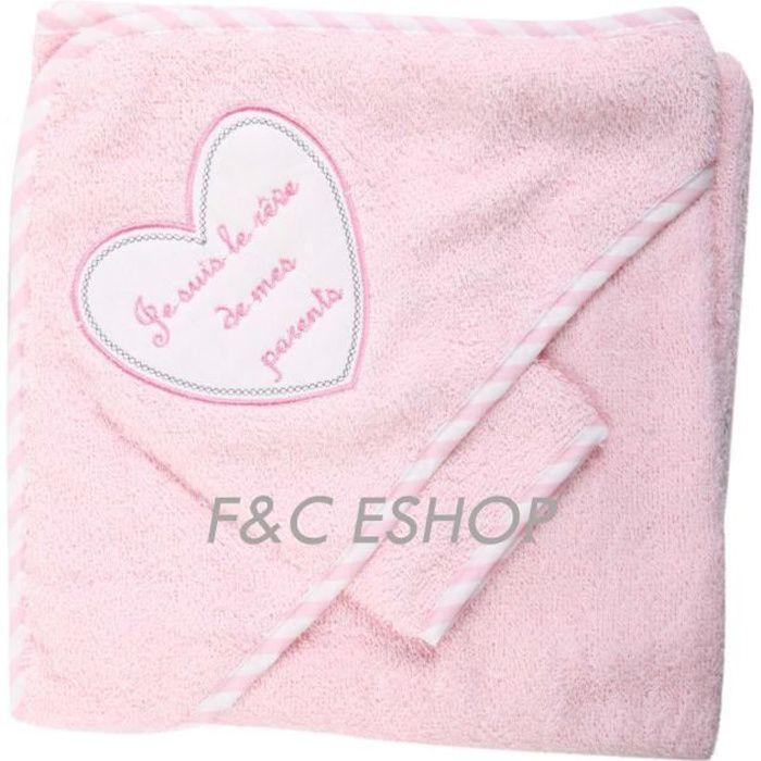 b/éb/é fille blanc//rose Sortie de bain je suis le r/êve de mes parents avec gant