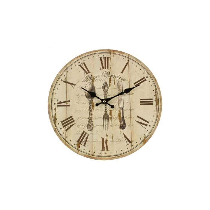 horloge ancienne murale bon appetit 34cm achat vente horloge bois cdiscount. Black Bedroom Furniture Sets. Home Design Ideas