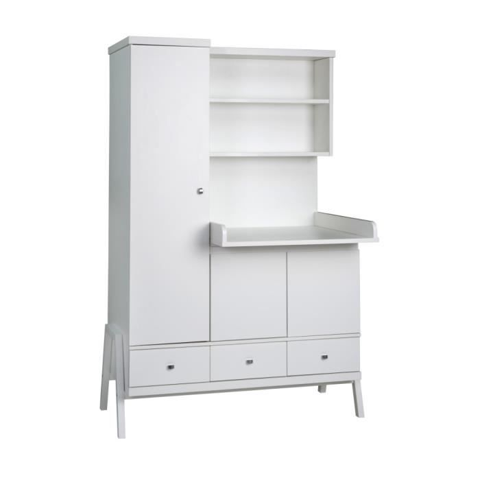 armoire enfant jolly blanc avec plan langer int blanc. Black Bedroom Furniture Sets. Home Design Ideas