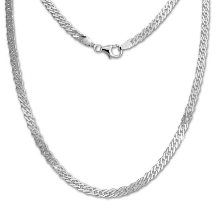 SilberDream Chaine Gourmette 925 Argent Sterling Unisexe 45cm SDK26745J