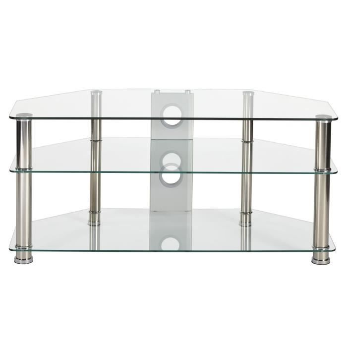 Support tv en verre transparent 1050 mm chrome argent - Support tv mural 127 cm ...