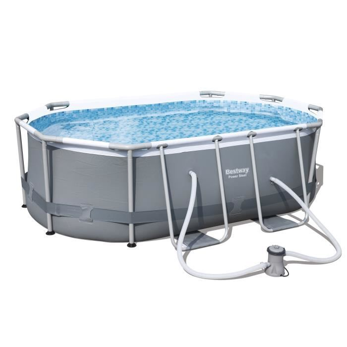 Bestway kit piscine power steel frame pools ovale 300x200x84 cm achat vente piscine kit - Piscine tubulaire ovale ...