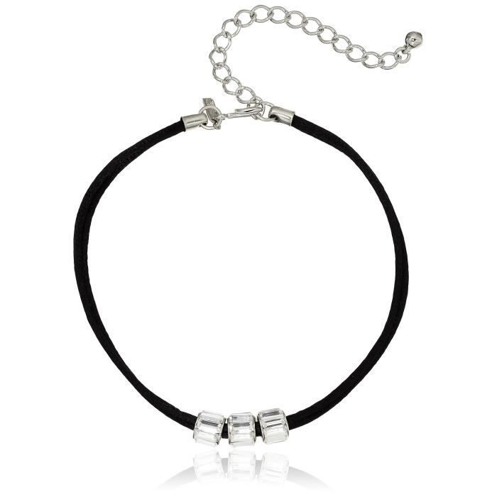 Kenneth Jay Lane Black Choker With 3 Crystal Rhondelles Choker Necklace, 12 + 4 Extender MVCH3