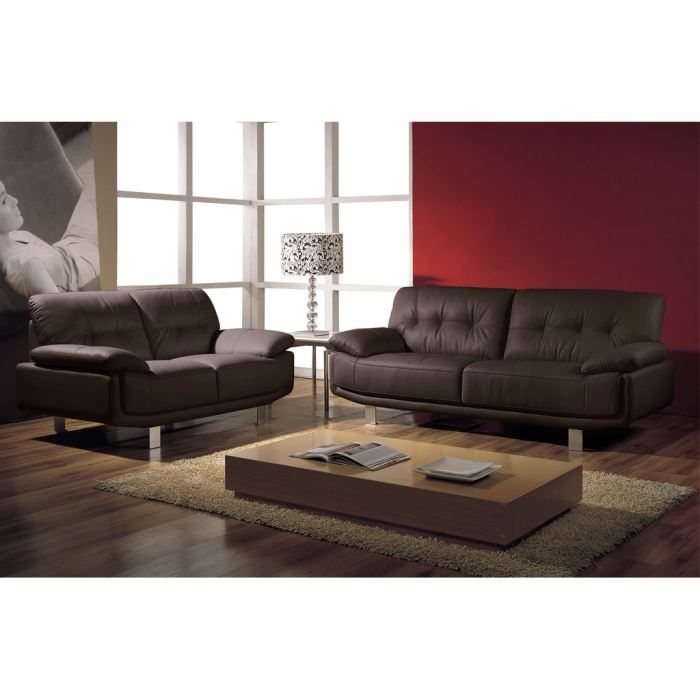 canap 3 2 places cuir design chocolat tania achat vente salon complet cu. Black Bedroom Furniture Sets. Home Design Ideas