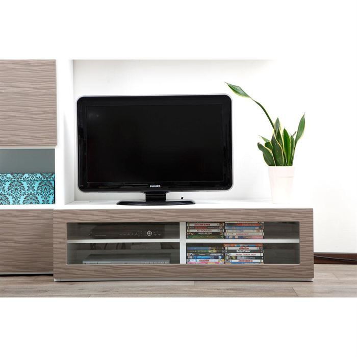 meuble tv design lumineux blanc et taupe symbiosis achat vente meuble tv meuble tv design. Black Bedroom Furniture Sets. Home Design Ideas