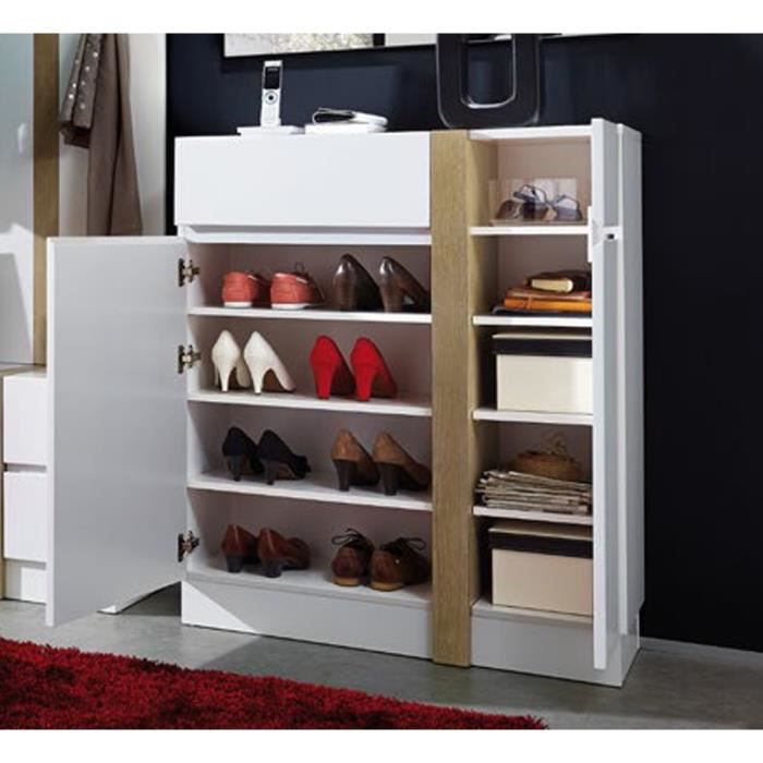 meuble chaussures blanc avec 2 portes et 1 ti achat. Black Bedroom Furniture Sets. Home Design Ideas