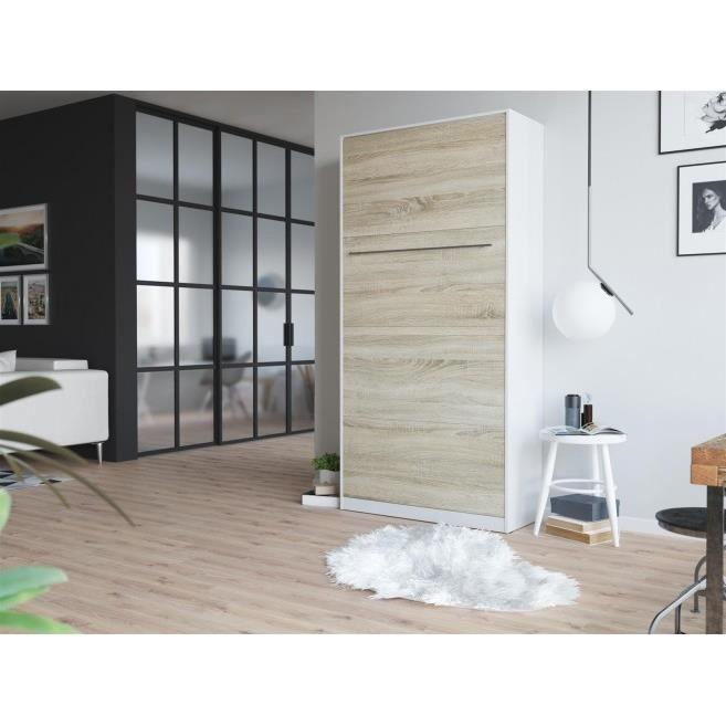 LIT ESCAMOTABLE SMARTBett Standard 90x200 vertical blanc/chêne Son
