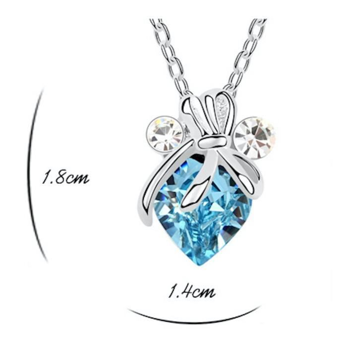 Womens Swarovski Crystals & Aaa Cubic Zircon Diamond Heart-love-valentine Pendant Necklace. Daily- N2E7C