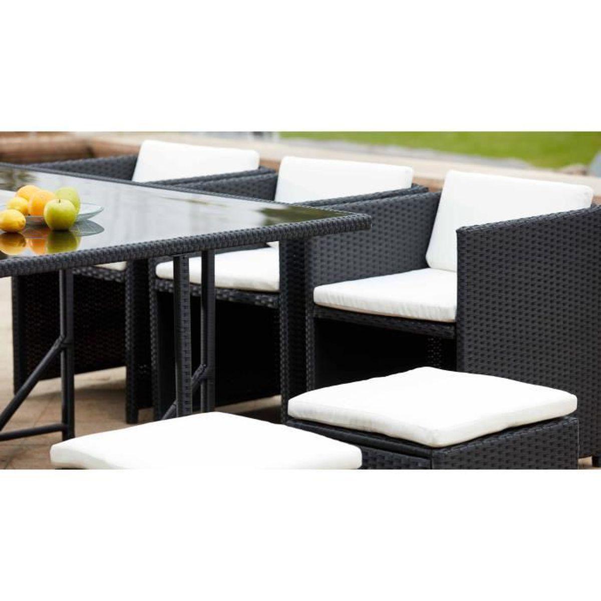 Salon de jardin en résine encastrable - Ensemble de jardin table et chaises  10 places Blanc
