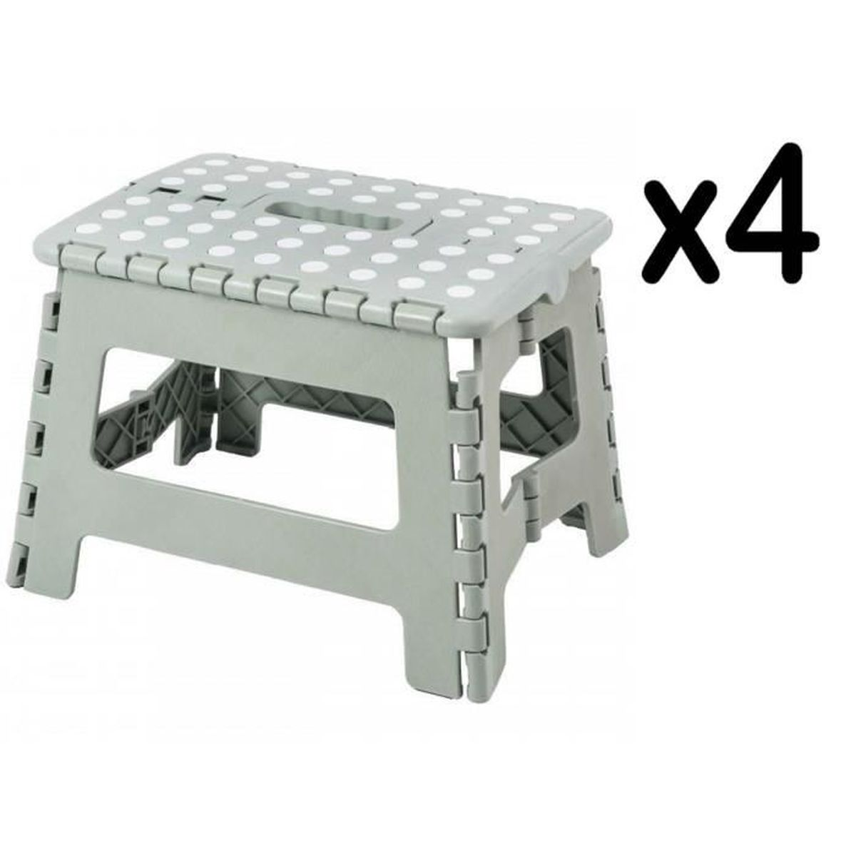 Marche Pied Pliable Plastique Blanc//Gris 30 x 22 x 32,5 cm 150 KG