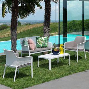 Ensemble table et chaise de jardin Salon de jardin polypropylène Net blanc NARDI Blan