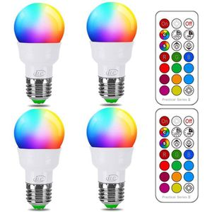 AMPOULE - LED (4 Pack) 3W Ampoules LED RGBW Changement de Couleu