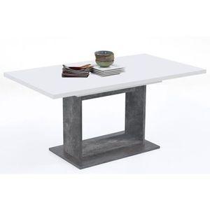 TABLE À MANGER SEULE Table à manger extensible coloris blanc brillant-g