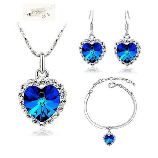 Parure Bijoux Coeur Bleu Nuit Swarovki Elements OR Blanc bleu nuit ...