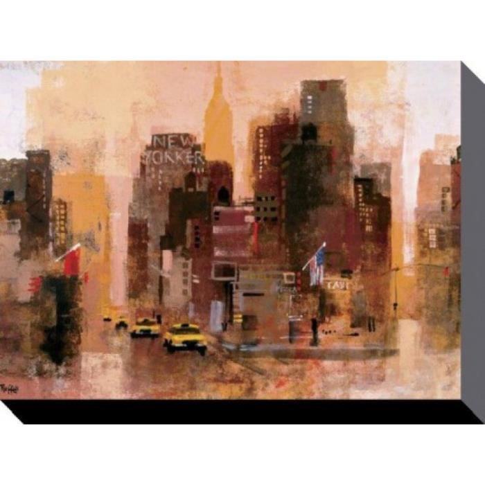 new york poster reproduction sur toile tendue sur ch ssis new yorker taxis colin ruffell. Black Bedroom Furniture Sets. Home Design Ideas