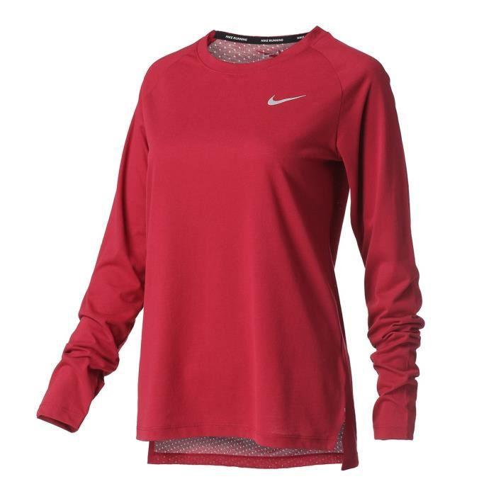 NIKE T-shirt de running Tailwind - Femme - Bordeaux