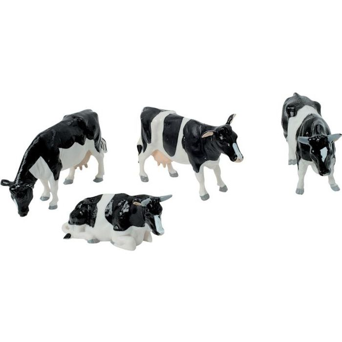 Lot de 4 figurines : vaches noires et blanches en plastique