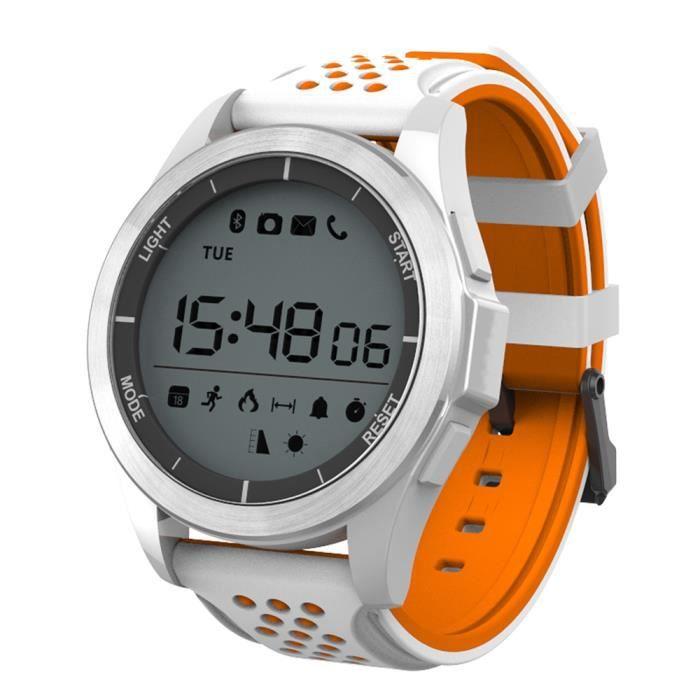 NO.1 F3 montres connectées smartwatch BLANC ET ORANGE Sports Bluetooth 4.0 IP68 étanche caméra à distance rappel sédentaire