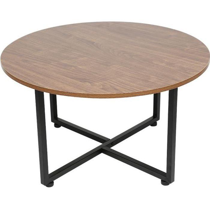 Table basse - Rond - Style de industrielle - Cadre Métallique Durable