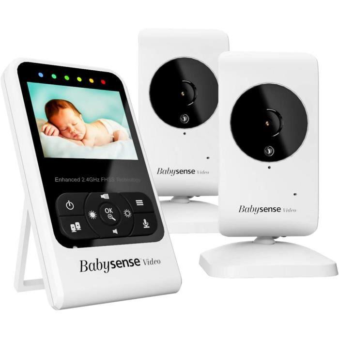 Babysense Moniteur vidéo pour bébé avec caméra et audio, écran 2,4 po, fourni avec deux caméras, berceuses et bruit blanc, modèle V2