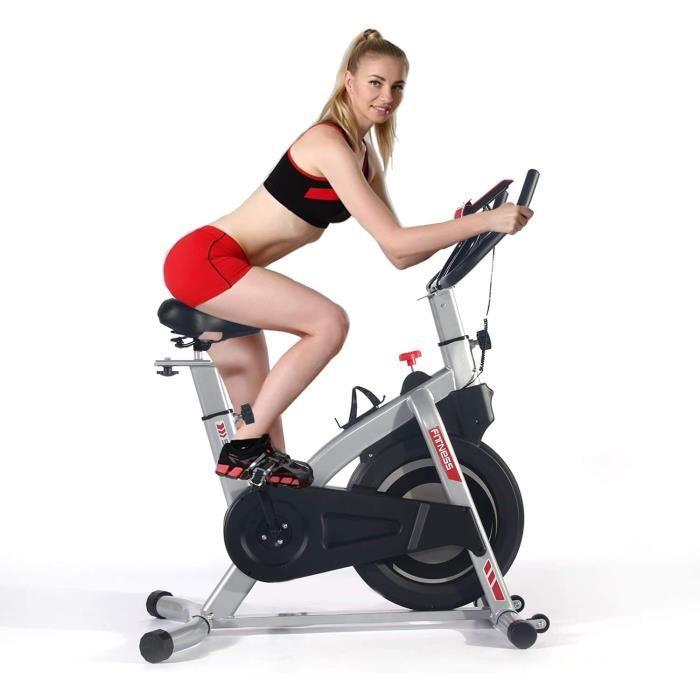 ISE Vélo d'appartement Ergomètre Fitness Exercice Indoor, Poids d'inertie de 8 KG avec Ordinateur de fréquence Cardiaque/Écran LCD/S