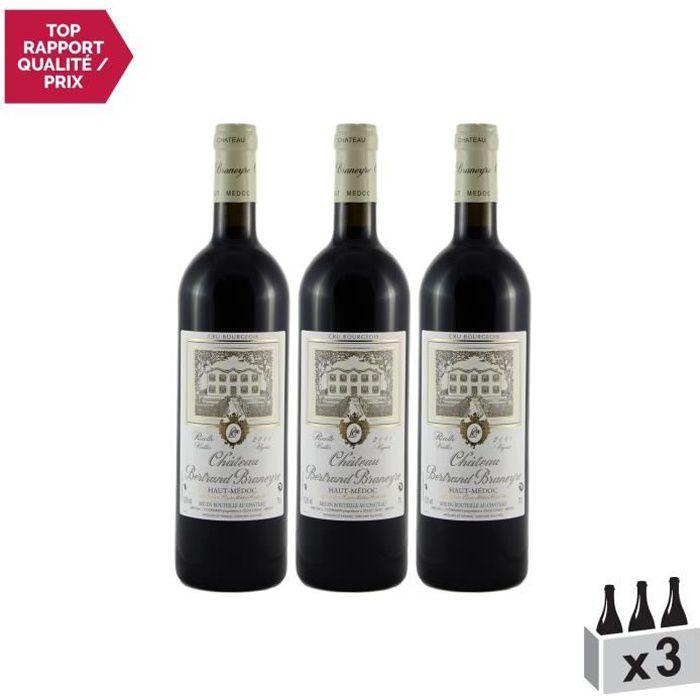 Château Bertrand Braneyre Rouge 2001 - Lot de 3x75cl - Appellation AOC Haut-Médoc - Vin Rouge de Bordeaux - Cépages Merlot,