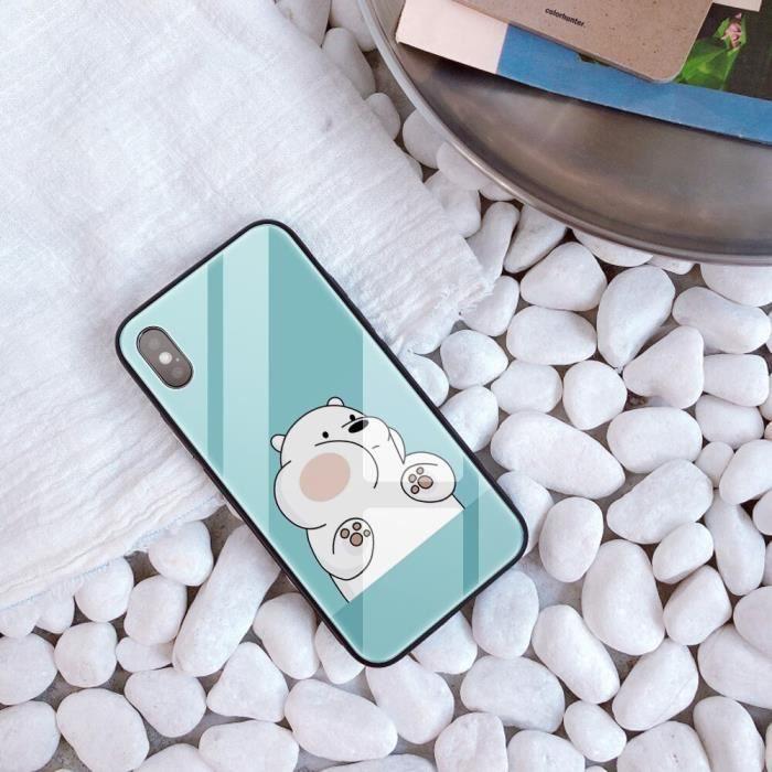 Coque, iPhone XR, Style 20424 We Bare Bears bricolage étui iphone 8X10 capa téléphone verre trempé personnalisé iphone MAX E étui