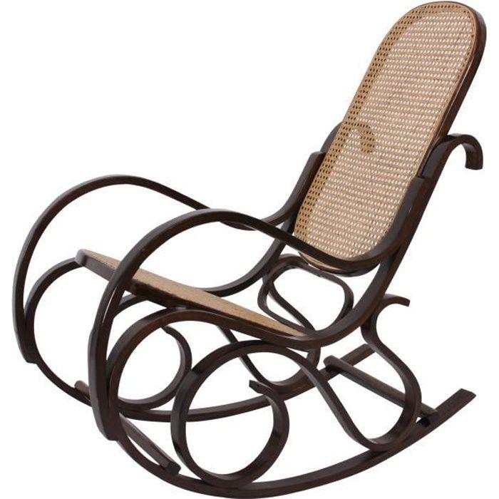 Rocking-chair fauteuil à bascule, couleur noyer, rotin.