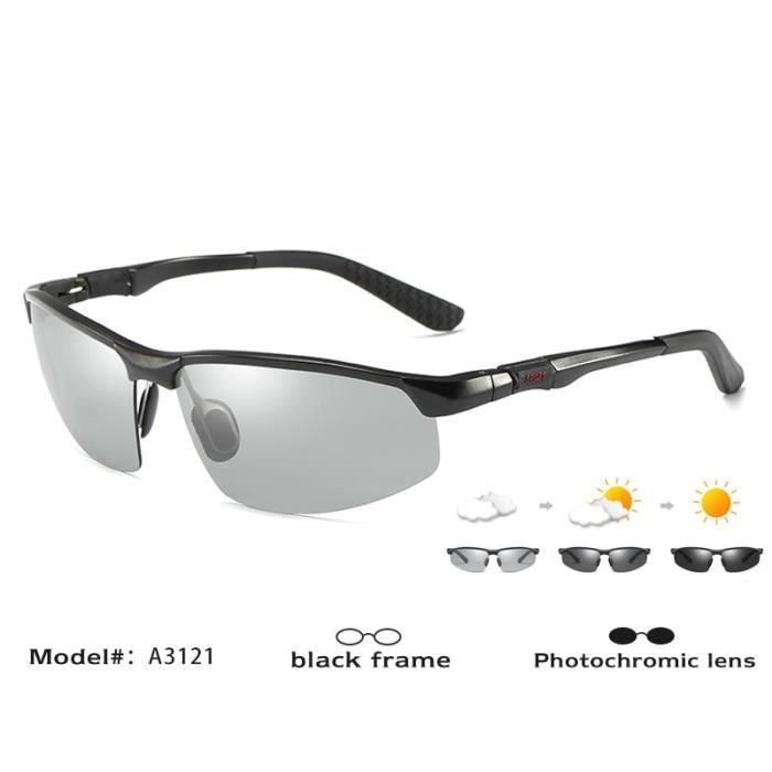 Lunettes de Soleil,CoolPandas lunettes de soleil photochromiques Caméléon polarisé pour hommes, lunettes de - Type Black frame