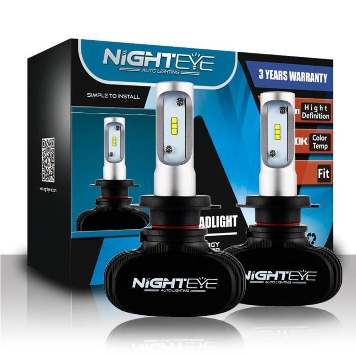 NIGHTEYE Voiture Ampoules LED Phare - H1 H4 H7 50w 8000LM - Set 6500K Blanc Froid - Garantie de fabrication de 3 ans (H7)
