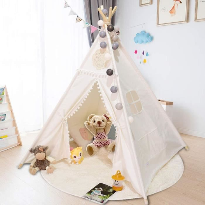 Tentes de jardin Triclicks Tipi Enfant, Blanc Toile Enfants Jouent Tente pour Intérieur & l'extérieur White Flower 19309
