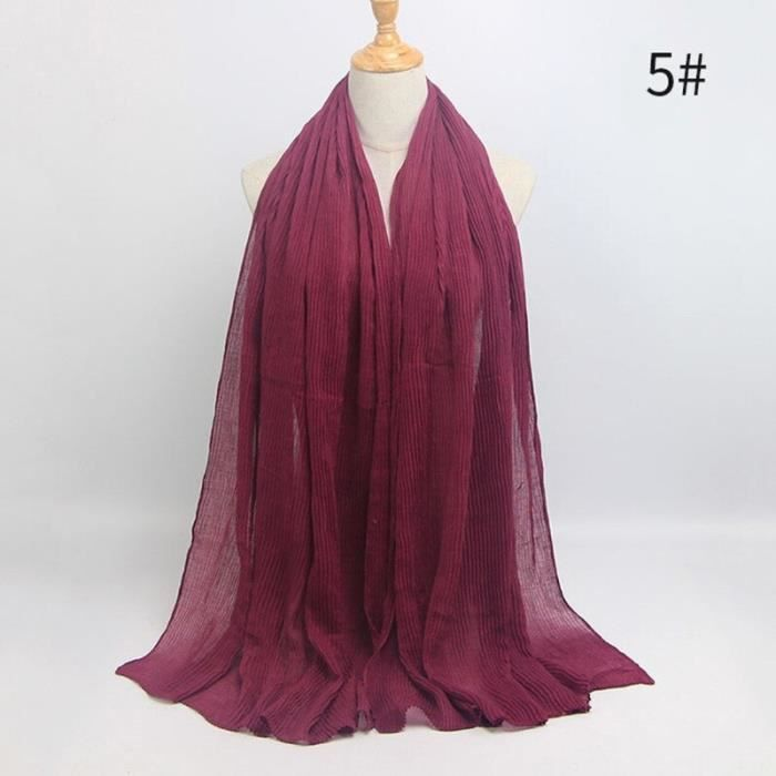 Foulard hijab en coton froissé, écharpe douce, écharpe chaude, écharpe chaude, châle, 25 couleurs, Design hiver, tendanc DY5176