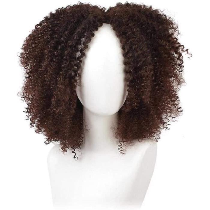 Brown afro perruque 14 pouces synthétiques pour femmes ombre frisé les perruques afro américaine de courts cheveux noirs naturels