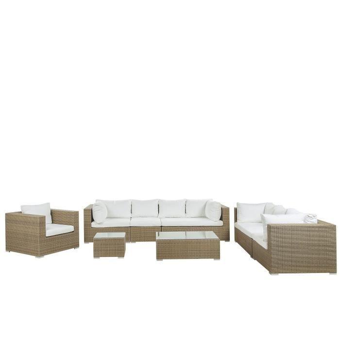 Salon de jardin 8 places en rotin marron clair avec coussins blancs cassés MAESTRO II