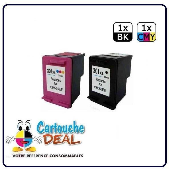 HP 301XL- Envy 4500 4502 4503 4504 4507 4508 Lot de 2 cartouches générique compatible HP301 XL