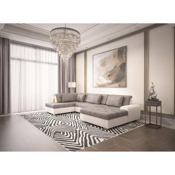 Canapé panoramique convertible LIBERTA _angle gauche - gris blanc
