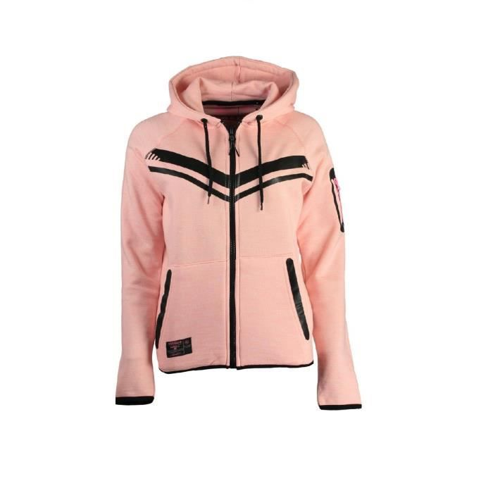 Sweat à capuche Geographical Norway Fluence Rose Clair