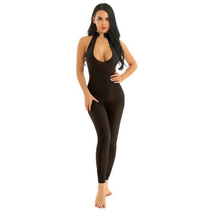 Sexy Legging de Sport Femme Body String Combinaison Ouverte Entrejambe Justaucorps Catsuit Buste Halter Neck Lingerie Leotard M L