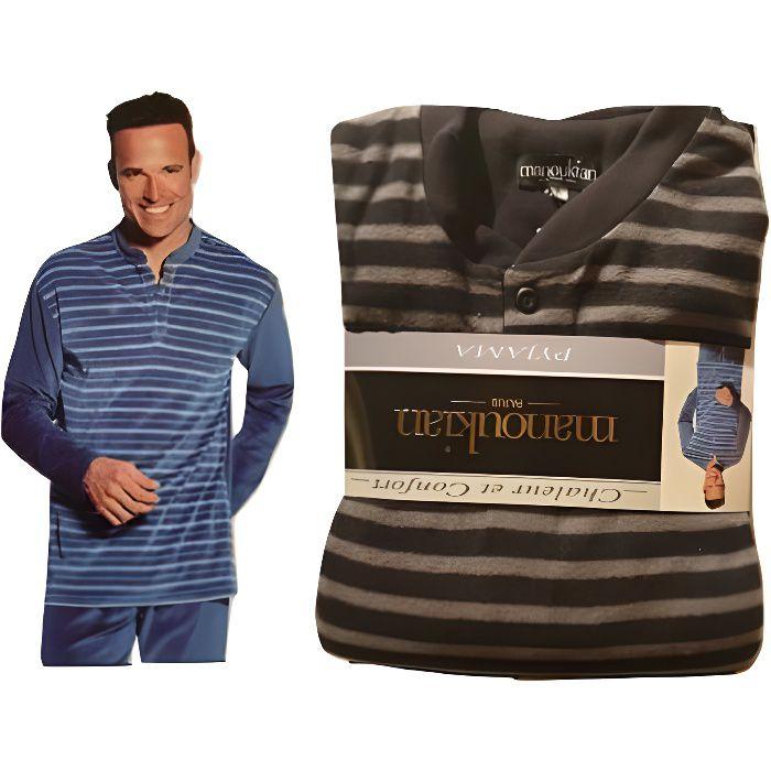 Pyjama homme confort et chaleur col rond avec bouton Manoukian ParisNoir S